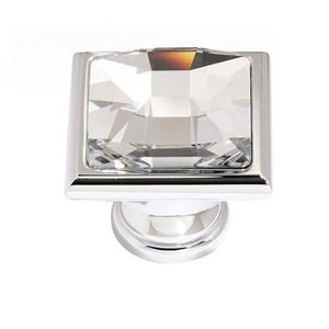 "Alno Creations Cabinet Hardware - Crystal - Solid Brass 1 1/4"" Square Knob in Swarovski Crystal/Polished Chrome"