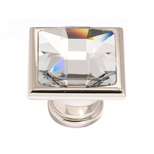 "Alno Creations Cabinet Hardware - Crystal - Solid Brass 1 1/4"" Square Knob in Swarovski Crystal/Polished Nickel"