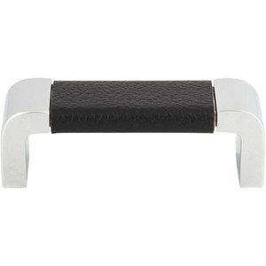 "Atlas Homewares - Cabinet Hardware - Paradigm 3"" Centers Pull in Black Leather and Polished Chrome"