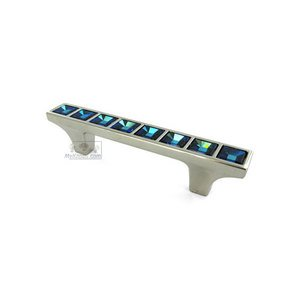 "Bosetti Marella by Classic Hardware 2 1/2"" Centers Blue Swarovski Crystal Pull in Polished Nickel"