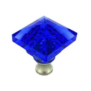 Cal Crystal - Crystal Knob Collection Beveled Square Colored Knob in Blue