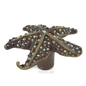 Exceptional Carpe Diem   Quick Ship Coastal Living Starfish Knob With Aqua Swarovski  Crystals In Antique Brass