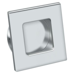 Deltana Hardware - Solid Brass Flush Pulls - Solid Brass Square Flush Pull  in Polished Chrome