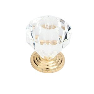 "Home Adorned - 1 1/8"" Diameter Acrylic Knob with Backplate in Clear"