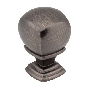 "Jeffrey Alexander by Hardware Resources - Katharine Collection - 7/8"" Overall Length Cabinet Knob in Brushed Pewter"