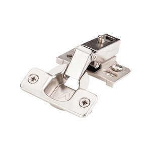"Hardware Resources - 6-way Cam-Adjustable 125-Degree Face-Frame Hinge 1/2"" Overlay with Cam-Adjustable Zinc Plate, with Dowels in Nickel"