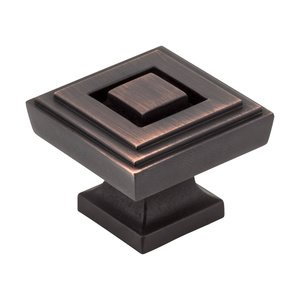 "Jeffrey Alexander by Hardware Resources - Delmar - 1 1/4"" Square Knob in Brushed Oil Rubbed Bronze"