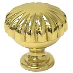 "Omnia Classic and Modern 1 3/8"" Melon Knob in Polished and Lacquered Brass"