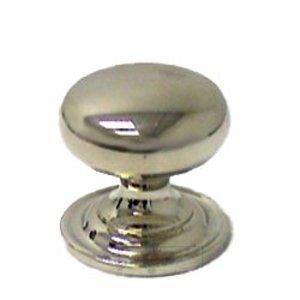 "Omnia Classic and Modern 1"" Classic Knob with Attached Back Plate in Polished Nickel"