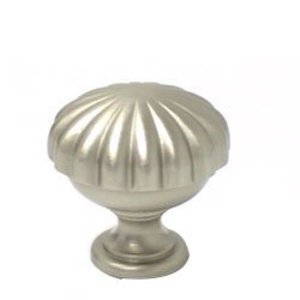 "Omnia Classic and Modern 1 3/16"" Melon Knob in Satin Nickel"