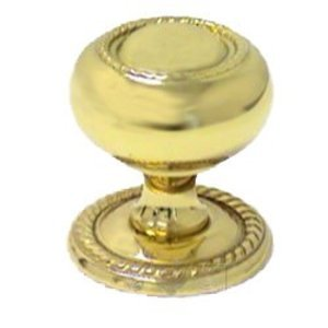 "RK International Hardware Polished Brass - 1 1/4"" Rope Knob with Backplate"