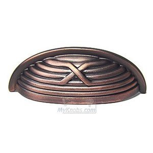 RK International Hardware Distressed Copper IV -  Lines and Single Cross Rounded Cup Pull