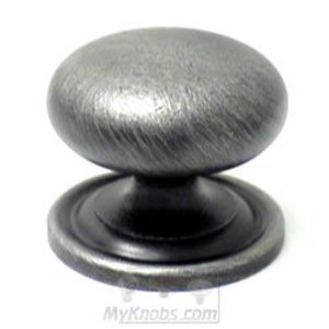 "RK International Hardware Distressed Nickel II -  1 1/2"" Plain Solid Knob with Backplate"
