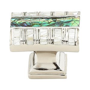 Symphony Designs / Maitland Smith Hardware by Schaub and Company - Fair Isle - Solid Brass Rectangle Knob in Polished Nickel with Imperial Shell and Mother of Pearl