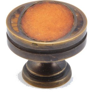 "Symphony Designs / Maitland Smith Hardware by Schaub and Company - Solid Brass 1 3/8"" Diameter Knob in Dark Antique Bronze with Tiger Penshell with Sienna Leather Insert and Tiger Penshell Inlay"