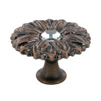 "Abstract Designs - Sunflower - 1 1/2"" Diameter Knob in Nickel Oxide with Acrylic Center"
