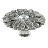 "Abstract Designs - Sunflower - 1 15/16"" Diameter Knob in Nickel Oxide with Acrylic Center"