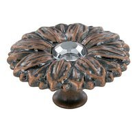 "Abstract Designs - Sunflower - 1 15/16"" Diameter Knob in Oil Rubbed Copper with Acrylic Center"