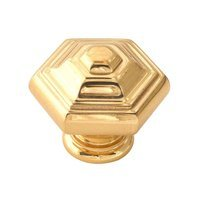 "Alno Inc. Creations - Geometric - Solid Brass 1 1/4"" Knob in Polished Brass"