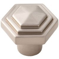 "Alno Inc. Creations - Geometric - Solid Brass 1 1/4"" Knob in Satin Nickel"