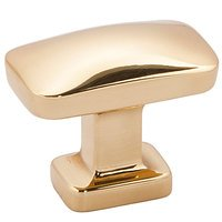 "Alno Inc. Creations - Cloud - 1 1/4"" Rectangular Knob in Polished Brass - No Lacquer"