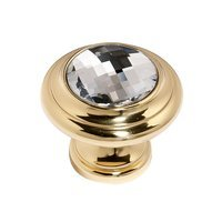 "Alno Inc. Creations - Crystal - Solid Brass 1 1/4"" Round Knob in Swarovski /Gold"