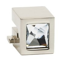 "Alno Inc. Creations - Convertibles Ring Pulls - Crystal Small Square Round Mount for Rings 1 1/2"", 2"", 2 1/2"" in Polished Brass"
