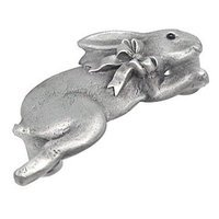 Anne at Home - Farm Animal - Bunny with Bow Pull (Facing Right) in Pewter Matte
