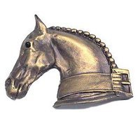 Anne at Home - Horses - Horse w/ Strap Knob (Facing Left) in Pewter Matte