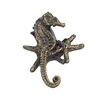 Anne at Home - Nautical - Seahorse and Starfish Cluster Knob (Facing Right) in Pewter Matte
