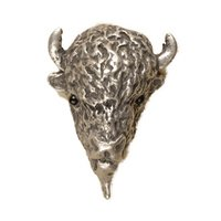 Anne at Home - Wild Animal - Buffalo Head Knob in Pewter Matte