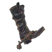 "LW Designs - Western - Fancy Footwear Cowboy Boot & Spur Pull ( Left ) - 3"" in Pewter Matte"