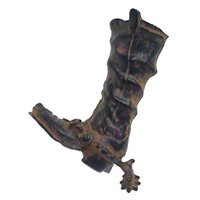 "LW Designs - Western - Fancy Footwear Cowboy Boot & Spur Pull ( Right ) - 3"" in Pewter Matte"