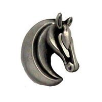 LW Designs - Dynasty - Gelding Horse Head Knob (Right) in Pewter Matte