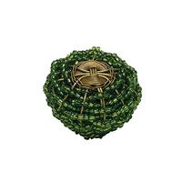 "Atlas Homewares - Bollywood - 2"" Beaded Knob in Green and Brass"