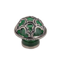 "Atlas Homewares - Tangeres Boutique - 2 1/2"" Boutique Moorish Knob in Green Glass and Silver"