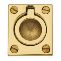 "Baldwin Hardware - NonLacquered Brass - 1 1/2"" Recessed Ring Pull in NonLacquered Brass"