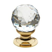 "Baldwin Hardware - Crystal - 1 3/16"" Diameter Faceted Swarovski Crystal Knob in Polished Brass"