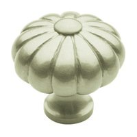 "Baldwin Hardware - Satin Nickel - 1 3/16"" Diameter Melon Knob in Satin Nickel"