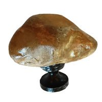 Novelty Hardware - Stone - Butterscotch Stone Knob with Oil Rubbed Bronze Base