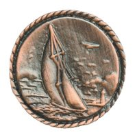 Novelty Hardware - Nautical - Small Sailboat Knob in Antique Brass