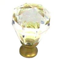 Cal Crystal - Crystal Knob - Octagon Knob in Polished Brass