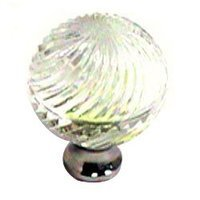 Cal Crystal - Crystal Knob - Swirled Knob in Polished Brass