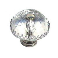 Cal Crystal - Crystal Knob - Round Knob w/ Frame in Polished Brass