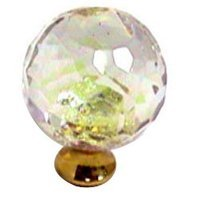 Cal Crystal - Crystal Knob - Rainbow Reflectance Knob in Polished Brass