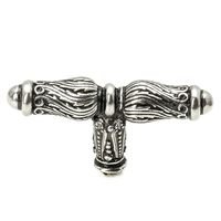 "Carpe Diem Hardware - Acanthus - ""T"" Shaped Knob with Feather Scroll in Cobblestone"