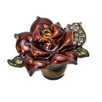 Carpe Diem Hardware - Oak Hollow In the Garden - Large Rose Knob W/ Swarovski Topaz/Clear Crystals & Amber Glaze in Antique Brass with Aquamarine