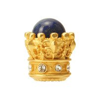 Carpe Diem Hardware - Crowning Glory Queen Penelope - Queen Penelope Large Knob With Swarovski Crystals & Lapis Stones in Antique Brass with Aquamarine
