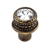"Carpe Diem Hardware - Quick Ship Cache - 1"" Medium Round Knob with 16mm Swarovski Elements in Antique Brass with Crystal"