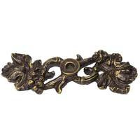 Carpe Diem Hardware - Quick Ship Antique Brass Knobs and Pulls - Double Grape Leaf and Vine Escutcheon in Antique Brass